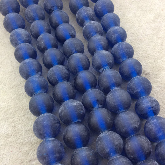 14mm Matte Dark Blue Irregular Rondelle Shaped Indian Beach/Sea Glass Beads - Sold by 16