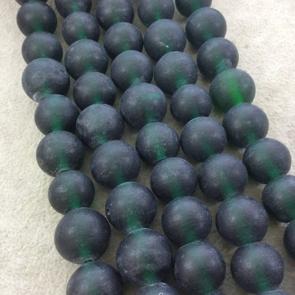 14mm Matte Deep Emerald Irregular Rondelle Shaped Indian Beach/Sea Glass Beads - Sold by 16