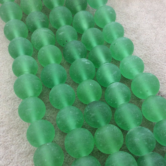 14mm Matte Bright Green Irregular Rondelle Shaped Indian Beach/Sea Glass Beads - Sold by 16