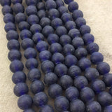 "12mm Matte Navy Blue Irregular Rondelle Shaped Indian Beach/Sea Glass Beads - Sold by 16"" Strands - Approximately 34 Beads per Strand"