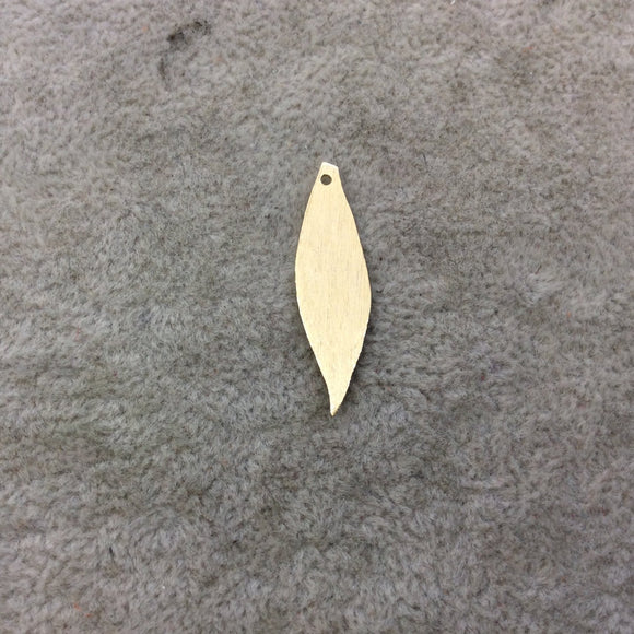 8mm x 31mm Gold Brushed Finish Blank Wavy Leaf Shaped Plated Copper Components - Sold in Pre-Counted Bulk Packs of 10 Pieces - (093-GD)