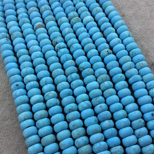"5mm x 8mm Matte Finish Turquoise Blue Dyed Howlite Rondelle Shaped Beads with 2mm Holes - 7.75"" Strand (Approx. 36 Beads) - LARGE HOLE BEADS"
