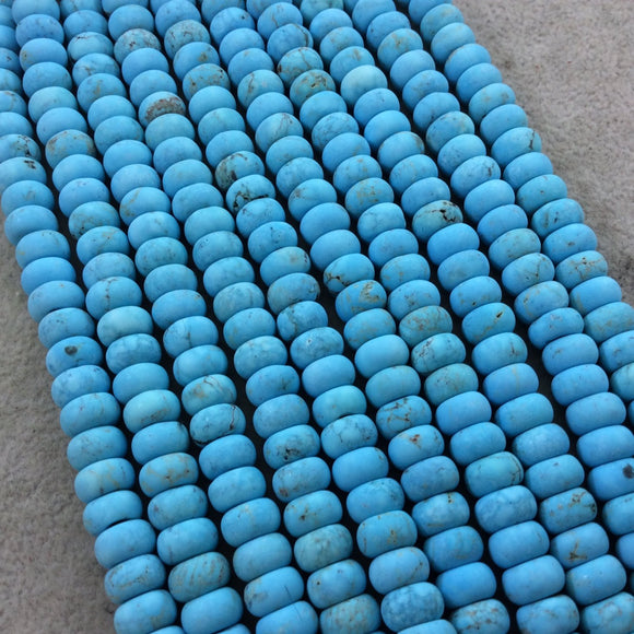 5mm x 8mm Matte Finish Turquoise Blue Dyed Howlite Rondelle Shaped Beads with 2mm Holes - 7.75