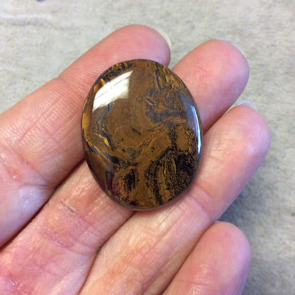 Single OOAK Natural Tiger Iron Oblong Oval Shaped Flat Back Cabochon - Measuring 25mm x 32mm, 6mm Dome Height - High Quality Gemstone