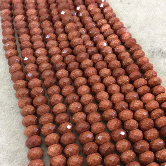 5mm x 8mm Manmade Goldstone (Glass) Faceted Finish Rondelle Beads with 2.5mm Holes - 7.75
