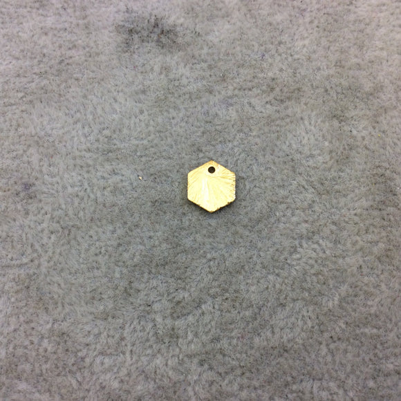 8mm x 10mm Gold Brushed Finish Blank Hexagon Shaped Plated Copper Components - Sold in Pre-Counted Bulk Packs of 10 Pieces - (188-GD)