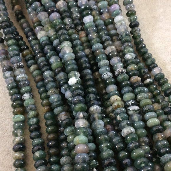 5mm x 8mm Smooth Finish Natural Green Moss Agate Rondelle Shaped Beads with 1mm Holes - Sold by 15.5