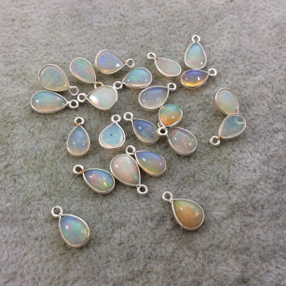 Sterling Silver Smooth Teardrop/Pear Shaped Genuine Ethiopian Opal Bezel Pendant - Measuring 6-8mm x 8-9mm - Sold Individually, Random