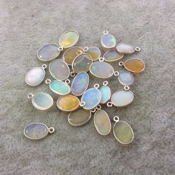 Sterling Silver Smooth Oblong Oval Shaped Genuine Ethiopian Opal Bezel Pendant - Measuring 7-9mm x 12mm - Sold Individually, Random