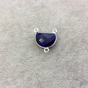 Sterling Silver Faceted Half Moon Shaped Deep Blue Hydro (Man-made) Quartz Bezel Pendant - Measuring 16mm x 12mm - Sold Individually