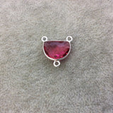 Sterling Silver Faceted Half Moon Shaped Fuchsia Red/Pink Hydro (Man-made) Quartz Bezel Pendant - Measuring 16mm x 12mm - Sold Individually