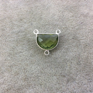 Sterling Silver Faceted Half Moon Shaped Light Green Hydro (Man-made) Quartz Bezel Pendant - Measuring 16mm x 12mm - Sold Individually