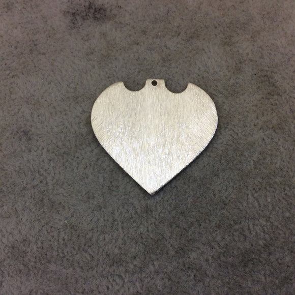 Large Sized Silver Plated Copper Blank Pointed Heart/Shield Shaped Pendant Components - Measuring 33mm x 31mm - Sold in Packs of 10 (240-SV)