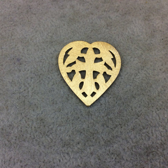 Medium Sized Gold Plated Copper Scrollwork/Cross Cutout Heart Pendant Components -Measuring 26mm x 29mm -Sold in Packs of 10 (234-GD)