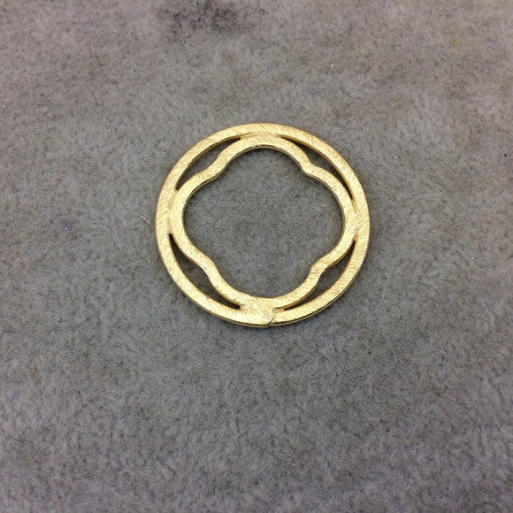 30mm Gold Brushed Finish Circular Quatrefoil Shaped Plated Copper Components - Sold in Pre-Counted Bulk Packs of 10 Pieces - (072-GD)