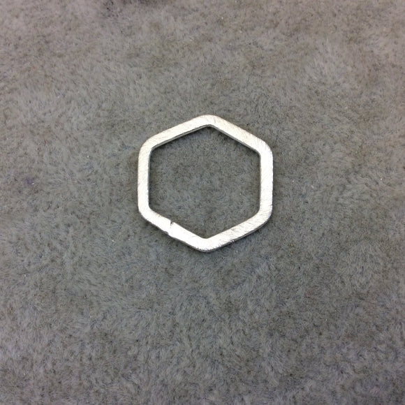 21mm x 23mm Silver Brushed Finish Open Hexagon Shaped Plated Copper Components - Sold in Pre-Counted Bulk Packs of 10 Pieces - (175-SV)