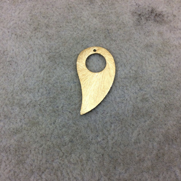Medium Gold Plated Copper Circle Center Curved Teardrop Shaped Pendant Components - Measuring 14mm x 24mm - Sold in Packs of 10 (296-GD)