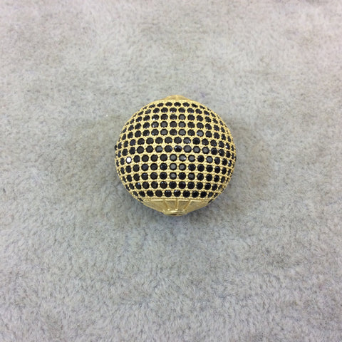 Gold Plated Jet Black CZ Cubic Zirconia Inlaid Puffed Coin Shaped Copper Bead - Measuring 25mm x 25mm  - See Related for Other Colors!