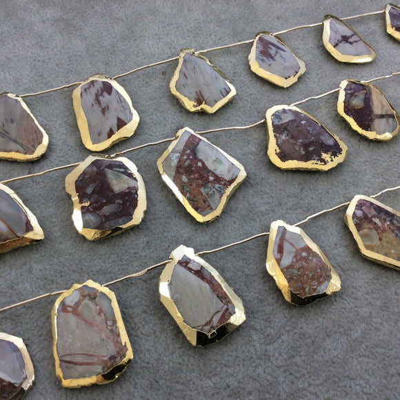 Gold Electroplated Faceted Slab Shaped Natural Brecciated Jasper Top-Drilled Beads - 9.5
