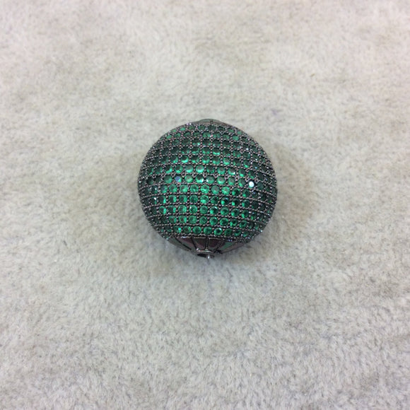 Gunmetal Plated Green CZ Cubic Zirconia Inlaid Puffed Coin Shaped Copper Bead - Measuring 25mm x 25mm  - See Related for Other Colors!