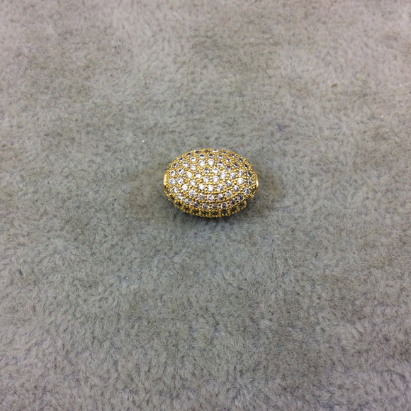 Gold Plated White CZ Cubic Zirconia Inlaid Puffed Oval Shaped Copper Bead - Measuring 11mm x 15mm  - See Related for Other Colors!