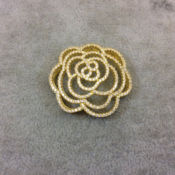Gold Plated White CZ Cubic Zirconia Inlaid Flat Open Backed Rose Blossom Shaped Copper Slider with 2mm Hole - Measuring 36mm x 36mm