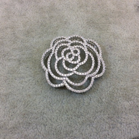 Silver Plated White CZ Cubic Zirconia Inlaid Flat Open Backed Rose Blossom Shaped Copper Slider with 2mm Hole - Measuring 36mm x 36mm