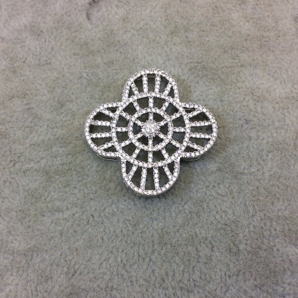 Silver Plated White CZ Cubic Zirconia Inlaid Flat Ornate Open Quatrefoil/Clover Shaped Copper Slider with 2mm Hole - Measuring 35mm x 35mm