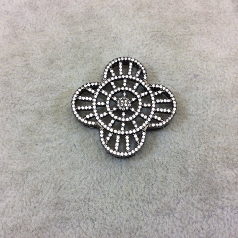 Gunmetal Plated White CZ Cubic Zirconia Inlaid Flat Ornate Open Quatrefoil/Clover Shaped Copper Slider with 2mm Hole - Measuring 35mm x 35mm
