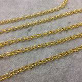 5' Section of 5mm Bright Gold Plated Copper Round Link Rolo Style Chain - Available in Four Different Finishes, Check Related Links!