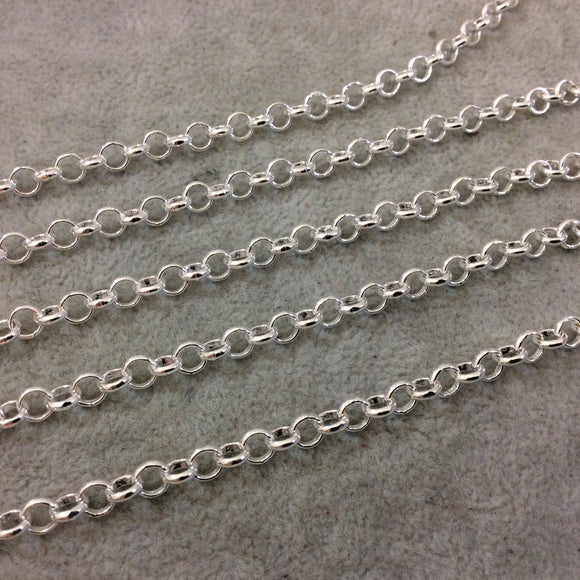 5' Section of 5mm Bright Silver Plated Copper Round Link Rolo Style Chain - Available in Four Different Finishes, Check Related Links!