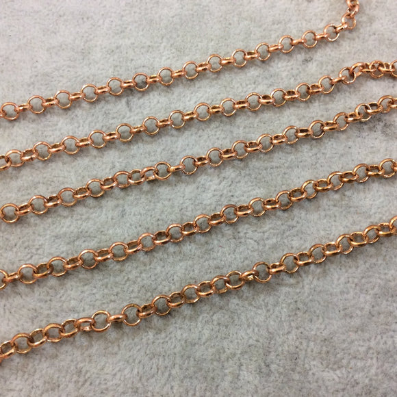 5' Section of 5mm Medium Copper Plated Copper Round Link Rolo Style Chain - Available in Four Different Finishes, Check Related Links!