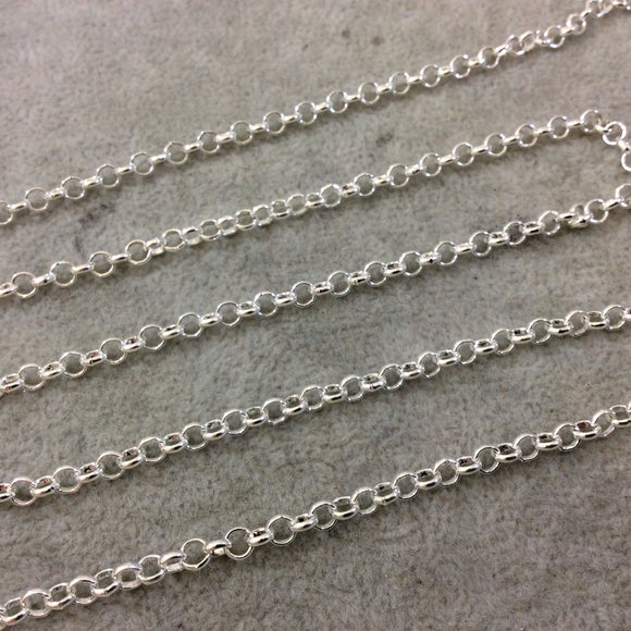 5' Section of 4mm Bright Silver Plated Copper Round Link Rolo Style Chain - Available in Four Different Finishes, Check Related Links!