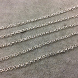 5' Section of 3mm Bright Silver Plated Copper Round Link Rolo Style Chain - Available in Four Different Finishes, Check Related Links!