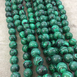 "12mm Smooth Round Synthetic Malachite (Resin) Beads - 15.25"" Strand (Approx. 33 Beads) - Manmade Faux Gemstone Beads - Sold By The Strand"