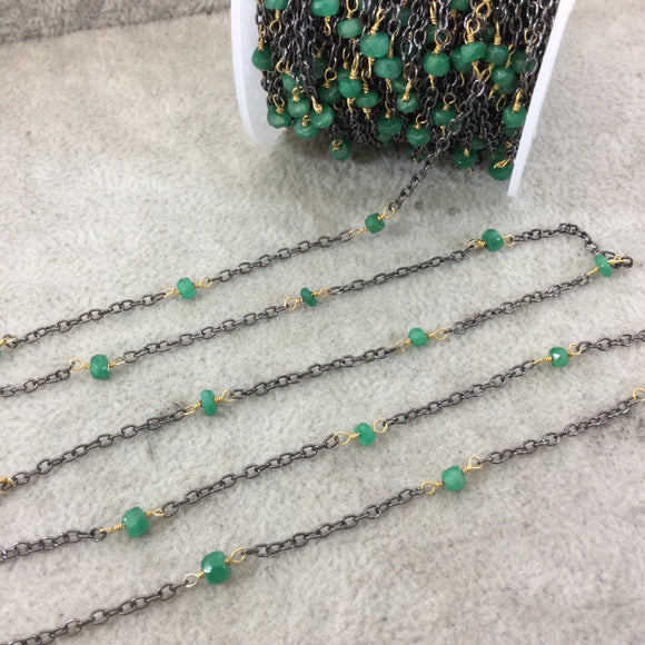 Gunmetal Plated Copper Spaced Rosary Chain W 3-4mm Faceted Natural Emerald Rondelle Shaped Beads (CH121-GM) - Sold by 1' Cut Sections!