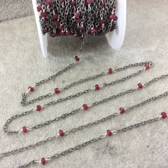 Gunmetal Plated Copper Spaced Rosary Chain with 3-4mm Faceted Natural Enhanced Ruby Rondelle Beads (CH112-GM) - Sold by 1' Cut Sections!