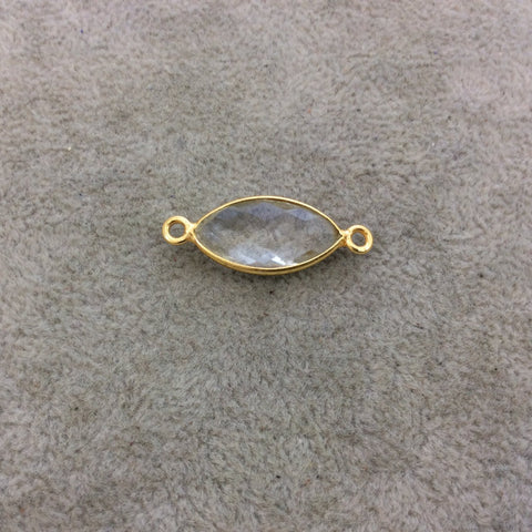 Gold Vermeil Faceted Clear Hydro (Lab Created) Quartz Marquise Shaped Bezel Connector - Measuring 10mm x 20mm - Sold Individually