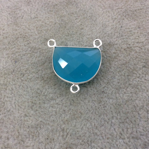 Sterling Silver Faceted Half Moon Shaped Aqua Blue Hydro (Man-made) Chalcedony Bezel Pendant - Measuring 20mm x 15mm - Sold Individually