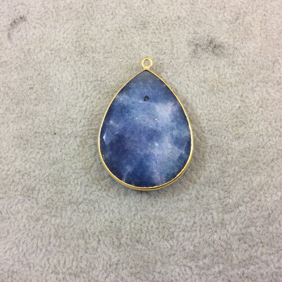 Gold Plated Faceted Synthetic Blue Sapphire (Lab Created) Teardrop/Pear Shaped Bezel Pendant - Measuring 28mm x 39mm - Sold Individual
