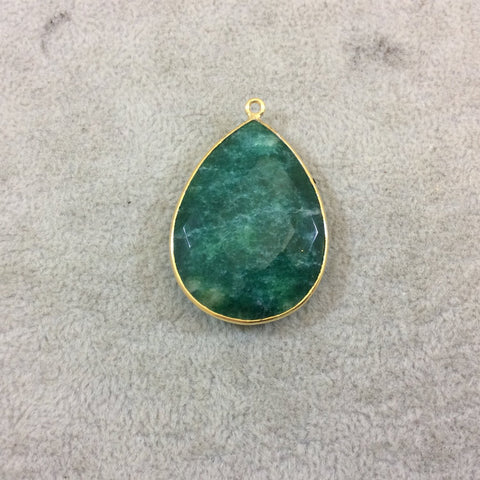 Gold Plated Faceted Synthetic Green Emerald (Lab Created) Teardrop/Pear Shaped Bezel Pendant - Measuring 28mm x 39mm - Sold Individual