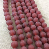 "12mm Matte Stoplight Red Irregular Rondelle Shaped Indian Beach/Sea Glass Beads - Sold by 16"" Strands - Approximately 34 Beads"