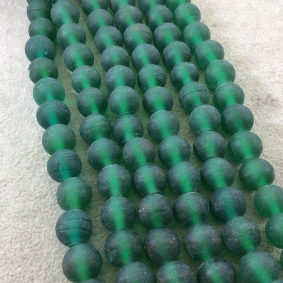 12mm Matte Pine Green Irregular Rondelle Shaped Indian Beach/Sea Glass Beads - Sold by 16