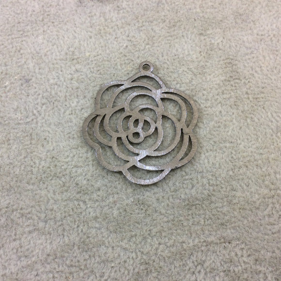 Medium Sized Gunmetal Plated Copper Open Fancy Rose Blossom Shaped Components - Measuring 34mm x 36mm - Sold in Packs of 10 (251-GM)