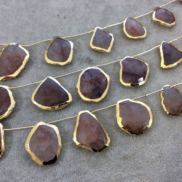 Gold Electroplated Faceted Freeform Slab Shaped Natural Strawberry Quartz Top-Drilled Beads - 9.5