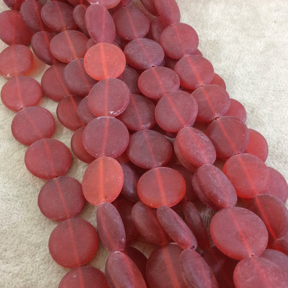 20mm Matte Lipstick Red Flat Circular/Coin Shaped Mock Beach/Sea Glass Beads with 1mm Holes - Sold by 15.75