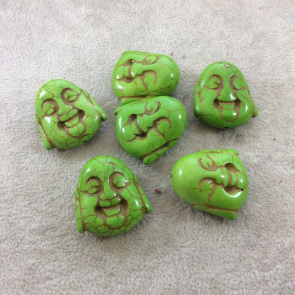 BULK PACK of 6 (Six) Lime Green Dyed Howlite Buddha Head/Face Shaped Beads with 1mm Holes - Measuring 28mm x 30mm, Approximatley