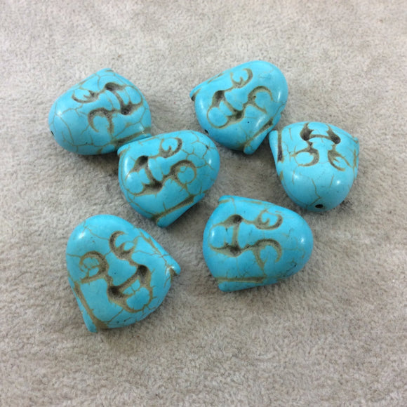 BULK PACK of 6 (Six) Turquoise Blue Dyed Howlite Buddha Head/Face Shaped Beads with 1mm Holes - Measuring 28mm x 30mm, Approximatley