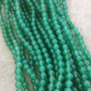 "6mm Smooth Dyed Bright Green Natural Agate Round/Ball Shaped Beads - Sold by 15"" Strands (Approximately 63 Beads) - High Quality Gemstone"
