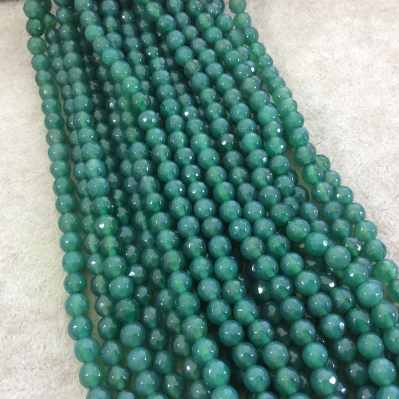6mm Faceted Dyed Pine Green Natural Agate Round/Ball Shaped Beads - Sold by 15
